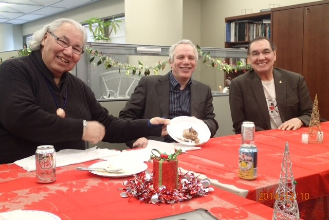 Julian Falconer at the Truth and Reconciliation Commission offices with clients Commissioners Justice Sinclair and Wilton Littlechild